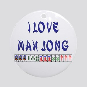 I Love Mah Jong Ornament (Round)